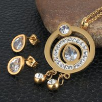 Earrings & Necklace Round Fashion Stainless Steel Jewelry Sets For Women Gold Color Pendants And SEWDDXCB