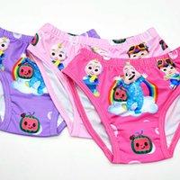 Çocuklar Kızlar Karikatür Iç Çamaşırı Külot Kısa Tagless Bikini Şort Knickers 3 adet / paket Cocomelon Arkadaşlar Aile Baskı Underwears Külot Sevimli Bathwearg82W7FX