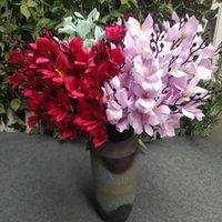 Одна пучка длинные стволы шелковой лилии орхидея 20 головок поддельных лилий цветок букет для свадьбы дома искусственное цветочное украшение