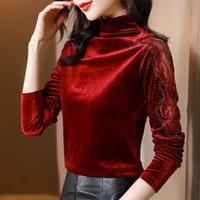 Women's T-Shirt Poleras Mujer Diamonds Slim Bow Hollow Out T Shirt Women Long Sleeve 2021 Fall Turtleneck Korean Fashion Woman Clothes Top F