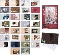 30 Pcs Feliz Natal Cartões com cartões postais luminosos, cartão de Natal DIY cartão de presente Papai Noel presentes criativos