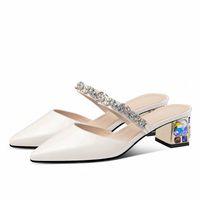 Pgxxzlx 2020 verão mulheres sandálias de moda patente de couro apontado rhineston salto sandália chinelos zapatos de mujer mulheres sapatos sparx sa u96a #