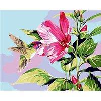 Marco de pintura al óleo de bricolaje por números Kit de colibrí acrílico por números Imagen de flores para adultos sala de estar de la pared Decoración del hogar
