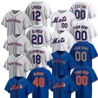 12 프란시스코 린더 피트 앨모소 야곱 딜러 다일리 딸기 야구 유니폼 노아 Mets Syndergaard Michael ConforTo Dwight Gooden S-5XL