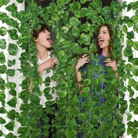 Decorative Flowers & Wreaths 2.3M Artificial Green Leaves Garland Plants Creeper Leaf Ivy Vine Home Wedding Decor DIY Hanging String Flower
