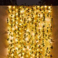Decorative Flowers & Wreaths 2m Artificial Leaf Vine Garland Fake Plants Wedding Decoration For Home Room Grass Wall DIY Wreath Silk Flower