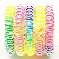 Femmes filles Élastique Bandes de cheveux Spirale Spirale Spirale Cheveux Cheveux Circle Téléphone Ligne Fil bandeau Rainbow Gradient Headwear Accessoires G38edzy