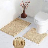 Alfombrillas de baño alfombra de u forma de inodoro alfombra suave alfombra suave resistente al deslizamiento ducha absorbente amortiguador microfibra peluche 2pcs marrón