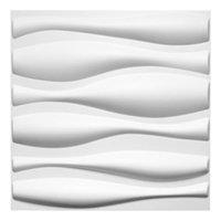 Art3D 50x50cm 3d plástico painéis de parede adesivos Projeto de onda de som branco para decoração interior residencial e comercial (12pcs / set)