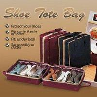 Kits de toalete noenname-null mulheres casa 6 pares organizador de sapato armazenamento sapatos domésticos caixa sacos de sacos de sacolas arrumadas em armário de cama