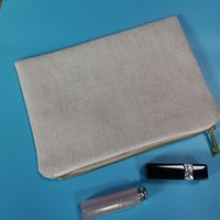 Bolsa de almacenamiento de maquillaje de lino de poliéster liso Pequeño regalo de invitado de boda 6x9 pulgadas bolsas cosméticas- para bolsas en blanco de sublimación con cremallera de oro