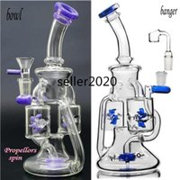 Double Water Wheels Bong hookahs Purple Glass bong Water Pipes Smoking Accessory Recycler Water bongs With 14mm Bowl