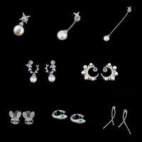 S925 Sterling silver star moon dangle single stud petal pearl rabbit simple line Earrings personality high fashion luxury jewelry Monaco Earring