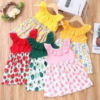 Детская одежда для девочек рюшами воротник платье детей клубника арбуз авокадо ананасовый лимон фруктов печати принцесса платья мода летняя детская одежда z3531