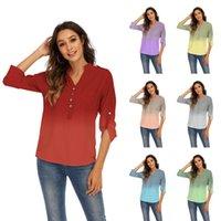 Women's Blouses & Shirts V-neck Long-sleeved Large Pocket Shoulder Stamp Gradient Color Print Loose Chiffon Shirt