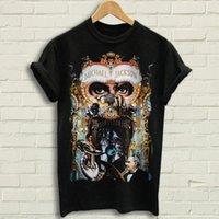 メンズTシャツマイケルジャクソン - 危険なTシャツブラックティーティーズOネックカジュアルコットンブロードクロスTシャツ男性(1)
