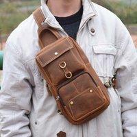 HBP AETOO sac de la poitrine de vachette originale Sac à bandoulière en cuir rétro de la matrice décontractée Sac de marée décontractée Vieux sac à dos Crazy Horse Cuir Sac à dos Lar