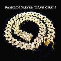 Collar decorativo de moda de alta calidad 20 mm tres fila diamante Miami Cuba Cadena llena de zircon Hombre Hip Hop