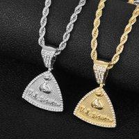 2PCS2022 Fashion Ice out Hip Hop Triangle Pendant Necklace Men With Money Bag Jewelry Gold Color Rock Rap Cuban Chain Necklace Gift