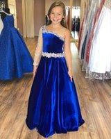 Royal Blue Velvet Wedding Party Flower Girls' Dresses with Beaded Sheer One Long Sleeve Toddler Pageant Dress Zipper Back Princess Birthday Gowns