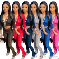 Womens Tracksuits Patchwork Fashion Two Piece Suit Long Sleeve Stand Collar Zipper Top + Slit Trousers Fall Clothing 2021