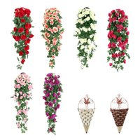 Decorative Flowers & Wreaths Artificial Roses Flower Rattan Fake Plant Vine Decoration Wall Hanging Home Decor Accessories Wedding Wreath