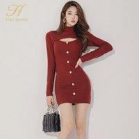 Vestidos casuais H Han Rainha Stand Collar Único-breasted Outono vestido de malha feitos de malha trecho macio fundo quente apertado vestidos