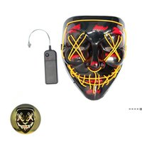 10 Colors! Halloween Scary Party Mask Cosplay Led Mask Light up EL Wire Horror Mask for Festival Party sea ship NHA7074