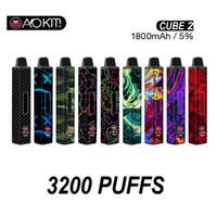 100% оригинальный Aokit Cube 2 одноразовые сигареты 12 мл PODS 1800 мАч 3200 Puffs Pauro Bar Система Square Pod ECIG II набор Multi цветов подлинный