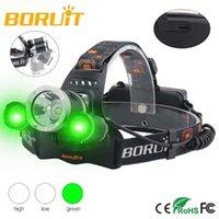 Boruit LED 헤드 램프 6000lm XM-T6 + 2 * XPE 녹색 헤드 라이트 토치 3 모드 USB 충전기 바이올렛 헤드 토치 밖으로 검색 낚시