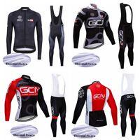 GCN PRO 팀 새로운 사이클링 저지 남성 긴 소매 세트 Ropa Ciclismo Hombre 겨울 열 양털 MTB 자전거 사이클링 의류 102719