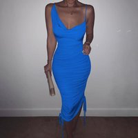 Casual Dresses Ruched Drawstring Bandage Women Midi Dress Bodycon Sexy Strap Elegant Party 2021 Summer Clothes Club Outfit Evening Drop