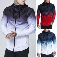 Hombre Primavera y otoño Moda High Street Tide Gradient Hood Casual Zipper Hombres S Chaqueta Cuero Cuero Sportswear