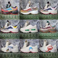 Casual Shoes Designer Rhyton Sneaker Hommes Femmes Chaussures Strawberry Wave Bouche Tiger Tiger Imprimer Vintage Entraîneur Homme Femme Avec Boîte de Chaussette02 01