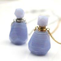 Nuevos accesorios Púrpura natural Hervidor de oro Perfume geométrico Esencia perfumada Esencia Botella de aceite Colgante Colgante