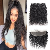 Meetu Brazilian Human Hair Bundles with Closure 13x4 Lace Frontal Body Deep Loose Indian Virgin Water Kinky Curly Extensions for Women All