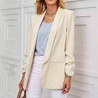 Women's Suits & Blazers 2021 Autumn Plus Size 3XL Blazer Long Sleeve Loose Pocket Solid White Female Fashion Office Elegant Ladies Coats
