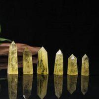 Natural Citrino torre di cristallo torre arti ornamento minerale chakra guarigione bacchette reiki energia pietra pietra al quarzo punto punto pilastro magico bacchetta di novità regali