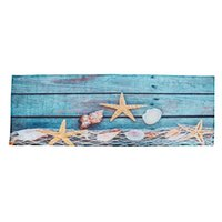 Cushion Decorative Pillow Retro Blue Wood Flooring Fishing Net Conch Shells Starfish Nautical Non-Slip Decorative Bath Mats Rugs For Bathroo