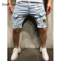 Samlona Men's Denim Shorts Sexy Loisirs Jeans Pacthork Trou déchiré Buttom 2021 Été Nouveau Casual Demin Pantalon court