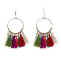 Trendy Bohemian Ethnic fringe Tassel Drop Earrings For women Gold Big Hoop statement Dangle Earring Boho Girls DIY Jewelry Gift 2960 Q2