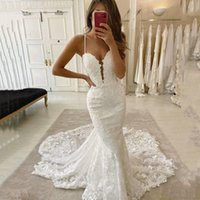 Spaghetti Lace Mermaid Wedding Dress Bridal Gowns Deep V Neck Appliqued Sweep Train Backless Tulle Bride Dresses