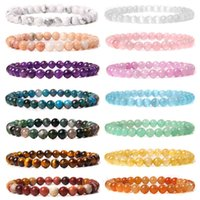Wholesale 6mm Natural Stone Various Colors Beaded Bracelets for Women Men Quartzs Agates Garnet Sunstone Handmade Bangle Jewelry