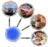 1 مجموعة سيليكون تمتد شفط وعاء أغطية 6 قطعة / المجموعة الغذاء الصف الحفظ التفاف ختم غطاء عموم غطاء أدوات المطبخ اكسسوارات EWF5428