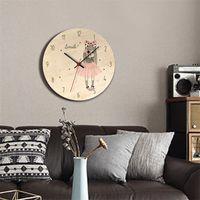 Yeni Ahşap Baskılı Resim Duvar Saati Güzel Kız Reloj de Pared Çocuk Odası Çevre Sessiz Horloge Y200109 744 K2