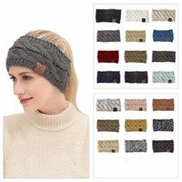 21 Colors CC Knitted Crochet Headband Women Winter Sports Headwrap Hairband Turban Head Band Ear Warmer Beanie Cap Headbands 50pcs