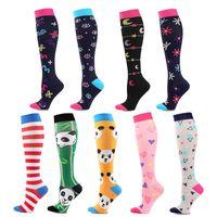 Men's Socks Est Compression Panda Stripes Moon Letters Cartoon Pattern Compress Stockings Varicose Veins Marathon Sports Gym