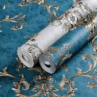 Wallpapers Damascus Non-woven Fabric Self-adhesive Wallpaper 3D Retro Living Room Decoration Bedroom TV Background Dark
