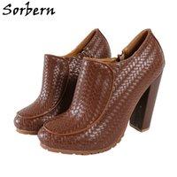 Sorbern Coffee Waved Women Pumps Shoes Block High Heel Side Zipper Cute Rund Toe Slip On Chunky Heeled Custom Colors Rubber Sole