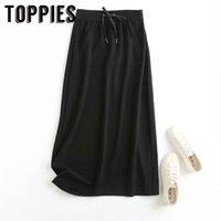 Toppies mulheres saia preta casuais faldas primavera bolsos saias estilo saias